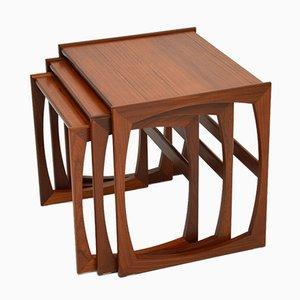 Tavolini ad incastro Quadrille vintage in teak di G-Plan, set di 3