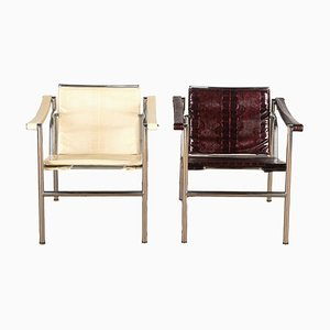 LC1 Basculant Armchairs, Set of 2