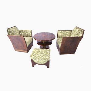 Art Deco Table, Armchairs and Footrests, France, 1930s, Set of 5