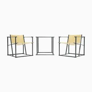 Würfelförmige FM60 Stühle & Tisch von Radboud van Beekum für Pastoe, 1980er, 3er Set