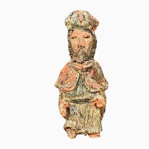 Statue de Saint en Terre Cuite Polychrome