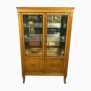 Louis XV Bookcase with Glazed Sides in Amboine Burr