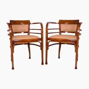 Art Nouveau Viennese Secession Café Table, Chairs and Bench by Otto Wagner for Thonet, Austria, 1900s, Set of 4