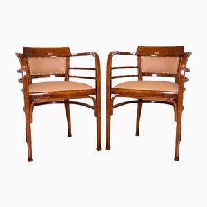 Tavolo, sedie e panca Art Nouveau secessione viennese di Otto Wagner per Thonet, Austria, inizio XX secolo, set di 4