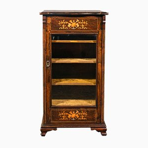 Antique Victorian English Music Cabinet or Display Case in Rosewood with Inlay, 1870s