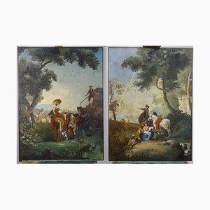 Gemälde, 19. Jh., 2er Set