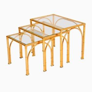 Tables Gigognes Vintage en Laiton et Faux Bambou, Set de 3
