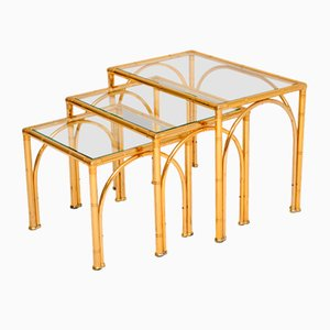 Vintage Brass Faux Bamboo Nesting Tables, Set of 3