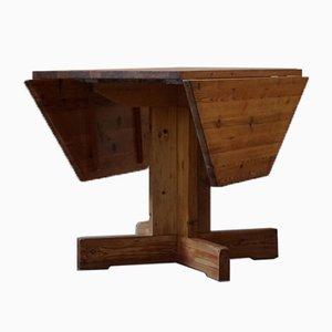 Mid-Century Swedish Asymmetrical Folding Flip Table in Pine, 1950s