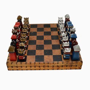 Large Vintage Leather Bound Chess Set