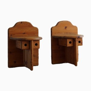Mid-Century Swedish Pine Nightstands in the Style of Axel Einar Hjorth, 1950s, Set of 2