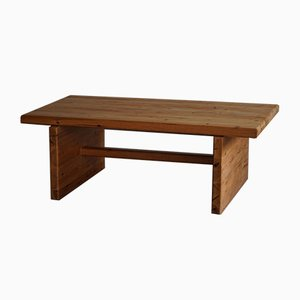 Swedish Brutalist Rectangular Solid Pine Coffee Table, 1960s