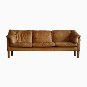 Dänisches Mid-Century 3-Sitzer Sofa aus cognacfarbenem Leder, 1970er