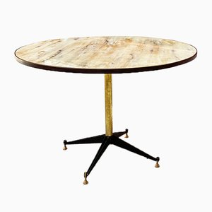 Mid-Century Italian Round Table with Marble Effect, 1950s