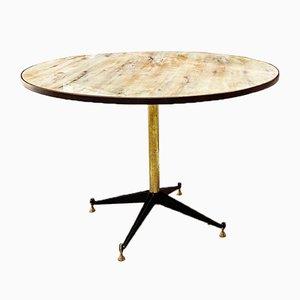 Runder italienischer Mid-Century Tisch mit Marmor-Effekt, 1950er