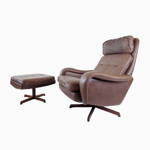 Leather Chair with Ottoman by Madsen & Schubell for Bovenkamp, Set of 2