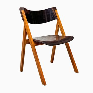 Italian Mid-Century Modern Black Oak Chairs with Curved Backs, 1960s, Set of 4