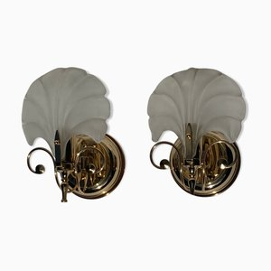 Art Deco Style Shell Sconces, 1970s or 1980s, Set of 2