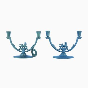 Art Deco Swedish Lion Candle Holders from Stjärnmetall, Set of 2