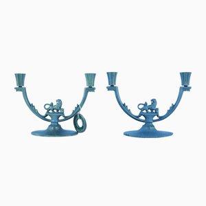 Schwedische Art Deco Kerzenhalter in Löwen-Optik von Stjärnmetall, 2er Set