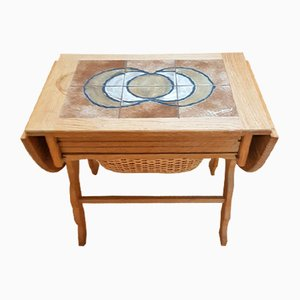 Mid-Century Sewing Table with Tiles in the Style of H. Wegner