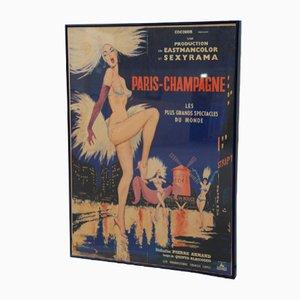 Gerahmtes Champagne Paris Filmplakat, 1962