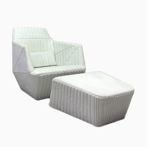 Facett Armchair with Footstool by Ligne Roset, Set of 2