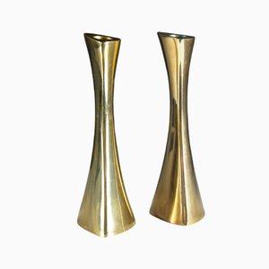 Vintage Swedish Brass Candleholders by K.E. Ytterberg for BCA Eskilstuna, Set of 2
