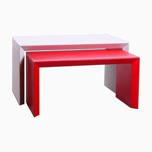 Postmodern Red and White Side Tables in the Style of Artifort, 1980s, Set of 2