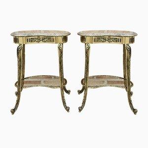 Französische Louis XVI Nachttische oder Beistelltische aus Bronze mit Marmorplatten, 2er Set