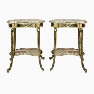 Louis XVI Style French Nightstands or Side Tables in Bronze with Marble Tops, Set of 2