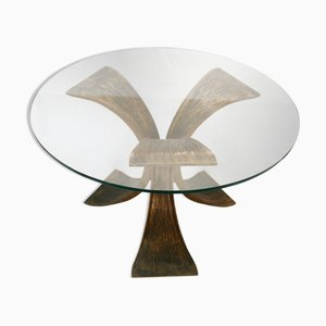Brutalist Bronze Side Table in the Style of Willy Ceysens