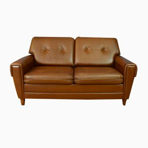 Mid-Century Danish Buttoned Brown Leather 2-Seater Sofa, 1960s