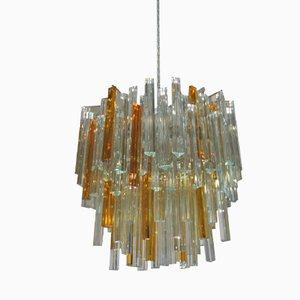 Triedri Glas Kronleuchter von Venini, 1960er