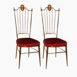 Chaises de Salon en Laiton, Italie, 1950s, Set de 2