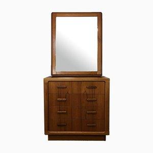 Mid-Century Teak Dresser & Mirror, Denmark, Set of 2