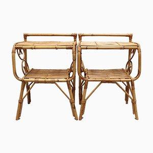 Italian Rattan Bedside Tables, 1960s, Set of 2