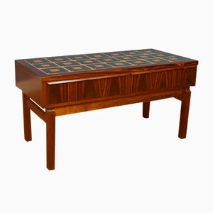 Mid-Century Danish Rosewood and Tile Console or TV Stand, 1960s