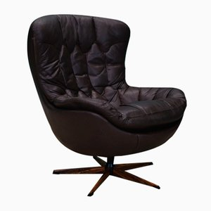 Mid-Century Danish Brown Leather Egg Swivel Chair by H. W. Klein for Bramin