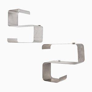 Brushed Aluminum Shelves by François Monnet and Joëlle Ferland, 1970s, Set of 2