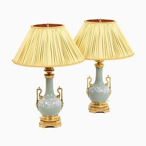 Lampes en Porcelaine Céladon et Bronze Doré de Maison Gagneau, 1880s, Set de 2