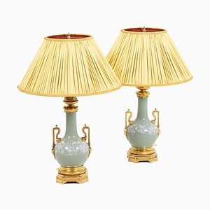 Lamps in Celadon Porcelain and Gilt Bronze from Maison Gagneau, 1880s, Set of 2