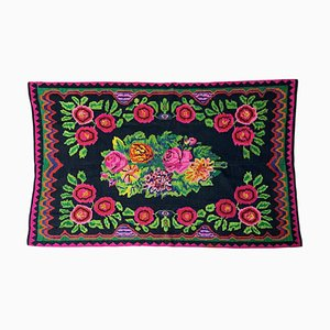 Romanian Handwoven Floral Carpet in Green and Fuchsia Wool