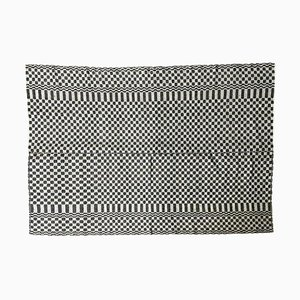 Romanian Handwoven Floral Carpet in Black & White Wool