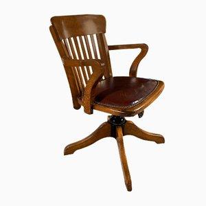 Chaise de Bureau Capitaine Antique en Chêne et Cuir