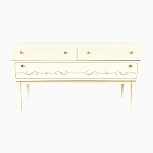 White Sideboard with Golden Details