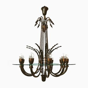Mid-Century Brass and Glass Chandelier, Italy, 1940s