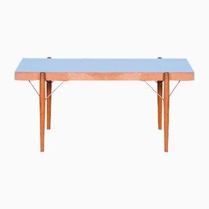 Kleiner blauer tschechischer Mid-Century Tisch im Originalzustand, 1950er