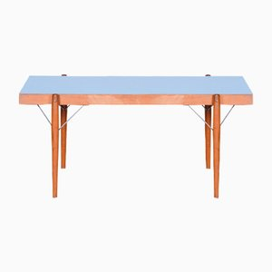 Small Mid-Century Czech Blue Table in Original Condition, 1950s