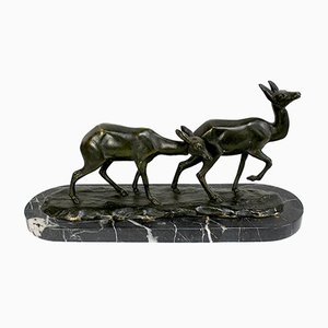 Art Deco Bronze Les Faons Sculpture by I. Rochard, Early 20th Century